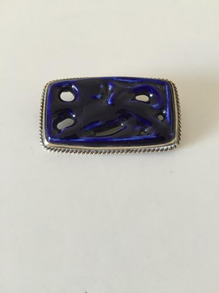 Royal Copenhagen A. Dragsted Jais Nielsen Sterling Silver and Porcelain Brooch. Measures 5x3 cm (1 31/32 in x 1 3/16 in), weighs 17 g (0.60 oz)