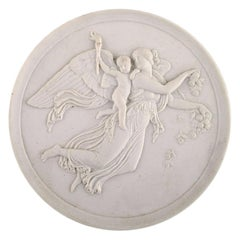"""Royal Copenhagen after Thorvaldsen, Biscuit Wall Plaque, """"The Day"""", Dated 1958"""