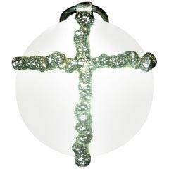 Royal Copenhagen / Anton Michelsen Cross Pendant in Sterling Silver & Porcelain