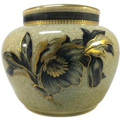 Royal Copenhagen Art Deco Craquelure Ginger Jar Gilded Floral Decoration #2687