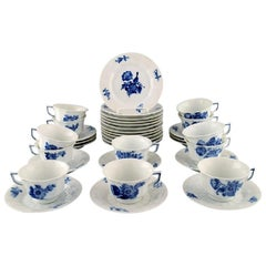 Royal Copenhagen Blue Flower Angular, Twelve Coffee Cups with Saucers and Plates