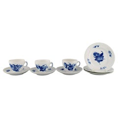 Royal Copenhagen Blue Flower Braided Coffee Service for Three People