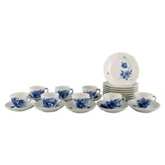 Royal Copenhagen Blue Flower Curved Coffee Service for Eight People, 1960s