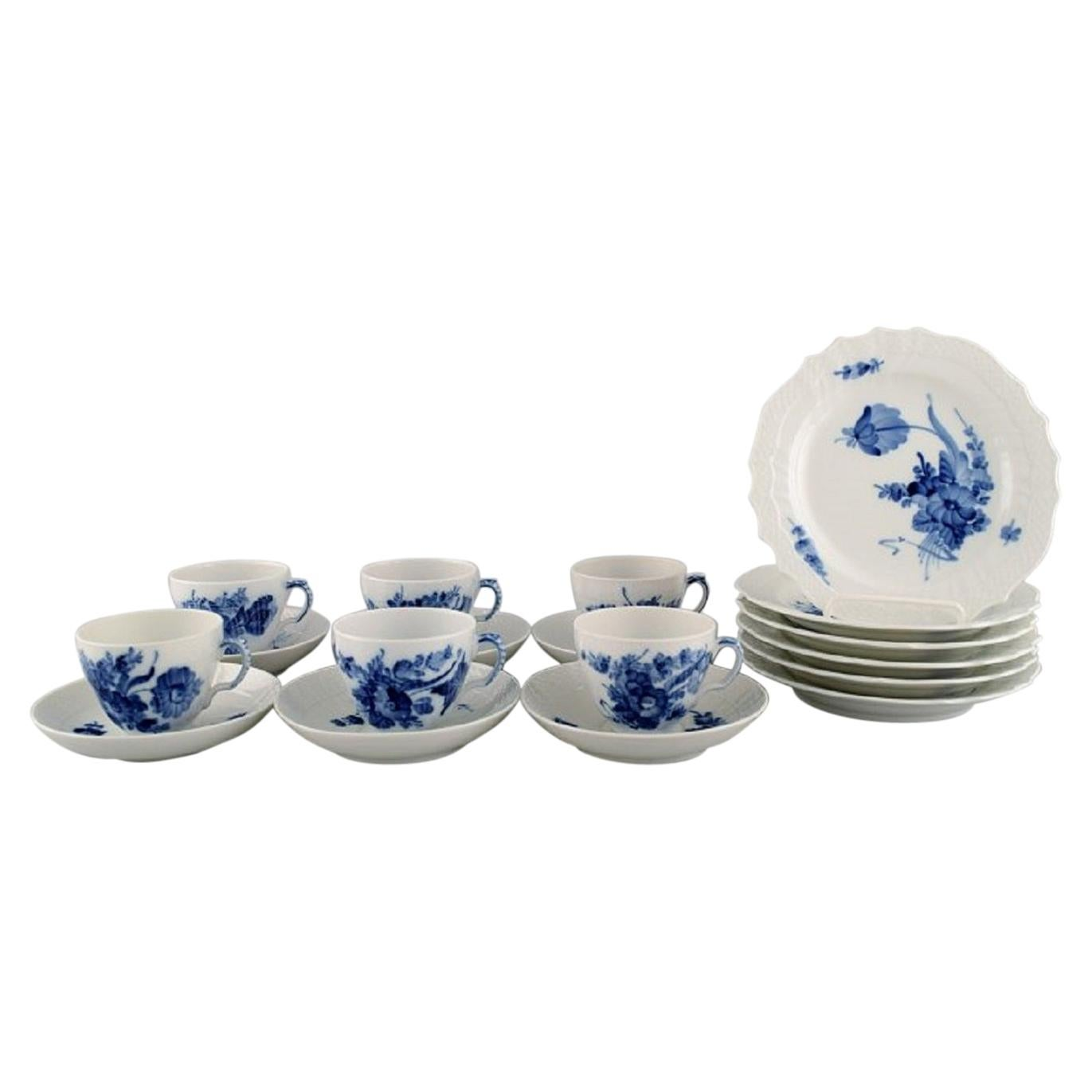 Royal Copenhagen Blue Flower Curved Coffee Service for Six People, 1960s