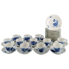 Royal Copenhagen Blue Flower Curved Coffee Service for Twelve People, 1960s