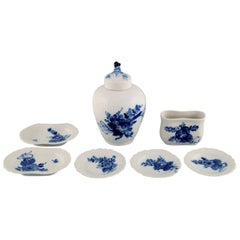 Royal Copenhagen Blue Flower Curved, Toothpick Holder, Tea Caddy and Butter Pads