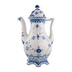 Royal Copenhagen Blue Fluted Full Lace Coffee Pot in Porcelain