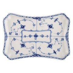 Royal Copenhagen Blue Fluted Half Lace Dish, Model Number 1/716, Early 20th C