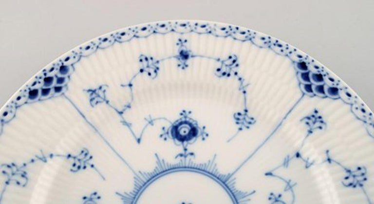 Neoclassical Royal Copenhagen Blue Fluted Lunch Plates, 8 Pieces For Sale