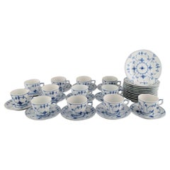 Royal Copenhagen Blue Fluted Plain Coffee Service for Twelve People