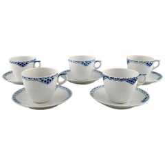Royal Copenhagen Blue Painted Coffee Cup with Saucer in Porcelain, Set of 5
