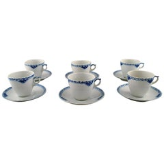 Royal Copenhagen Blue Painted Coffee Cup with Saucer in Porcelain, Set of 6