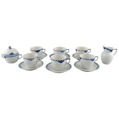 Royal Copenhagen Blue Painted Princess, Set of Six Coffee Cup with Saucers