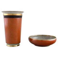 Royal Copenhagen, Bowl and Vase in Crackle Porcelain in Gold and Orange
