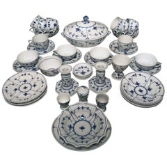 "Royal Copenhagen Breakfast Service for Four in the ""Blue Fluted"" Pattern"