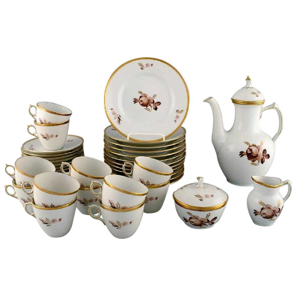 Royal Copenhagen Brown Rose Coffee Service for 12 People, 1960s