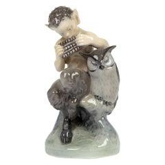 Royal Copenhagen Christian Thomsen Porcelain Faun and Owl Figure