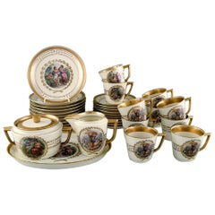 Royal Copenhagen Coffee Service for 10 People in Porcelain with Romantic Scenes