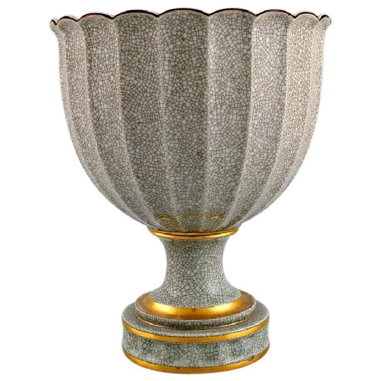 Royal Copenhagen Crackle Art Deco Vase with Gold Decoration, Rare Form