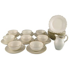 Royal Copenhagen Creme Curved Tea Service for Eight People, Mid-20th Century