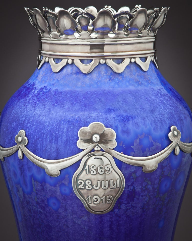 Royal Copenhagen crystalline vase, signed Valdemar Engelhardt,the silver was made by The Royal Silversmith Michaelson.  Presentation to Dowager Queen Louise, widow of King Frederick the 8th of Denmark, on the occasion of her 50th anniversary as a