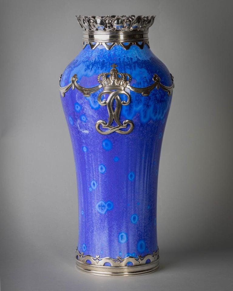 Danish Royal Copenhagen Crystalline Vase, Valdemar Engelhardt, Dated 1915 For Sale