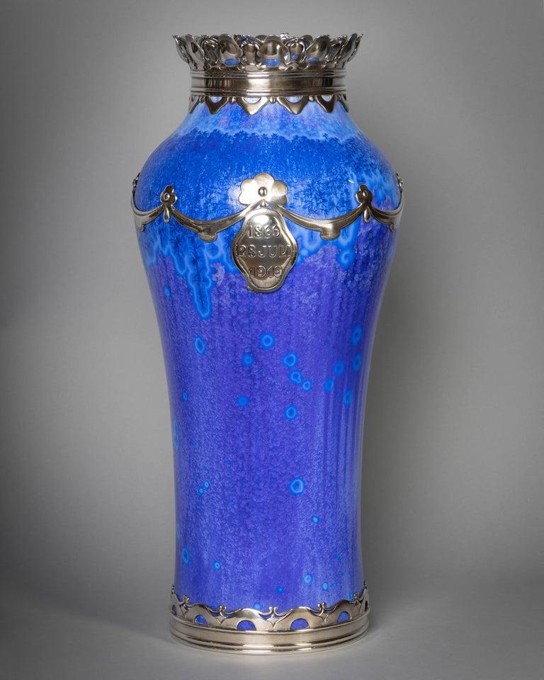 Royal Copenhagen Crystalline Vase, Valdemar Engelhardt, Dated 1915 In Good Condition For Sale In New York, NY