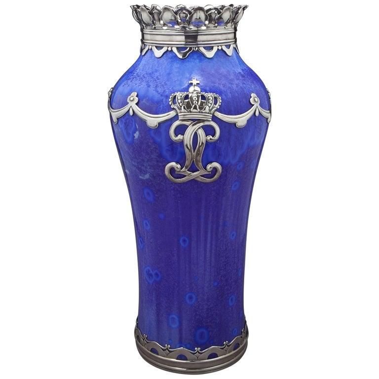 Royal Copenhagen Crystalline Vase, Valdemar Engelhardt, Dated 1915 For Sale
