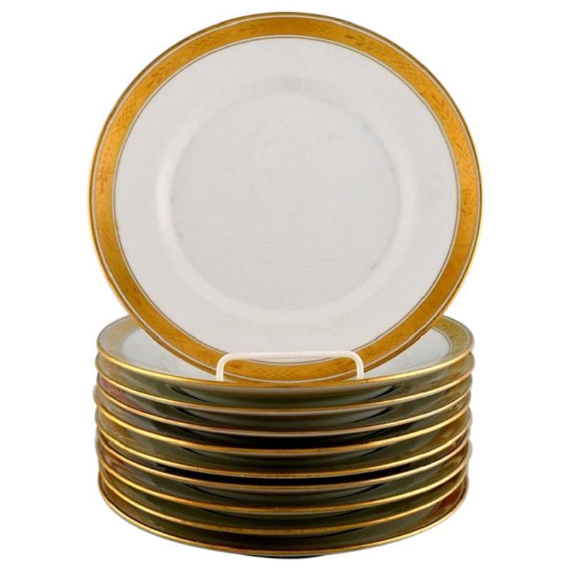 Royal Copenhagen Dagmar, White, 10 Porcelain Lunch Plates with Gold Edge