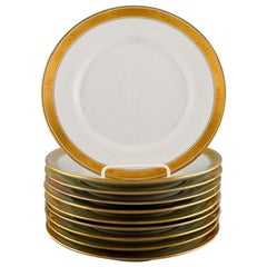 Royal Copenhagen Dagmar, White, 10 Porcelain Lunch Plates with Gold Edge