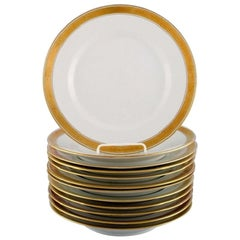 Royal Copenhagen Dagmar, White, 12 Porcelain Dinner Plates with Gold Edge