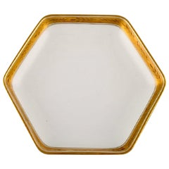 Royal Copenhagen Dagmar, White, Angular Porcelain Dish with Gold Edge