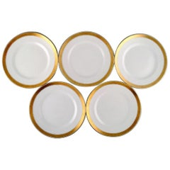 Royal Copenhagen Dagmar, White, Five Porcelain Dinner Plates with Gold Edge