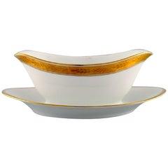 Royal Copenhagen Dagmar, White, Porcelain Sauce Boat with Gold Edge