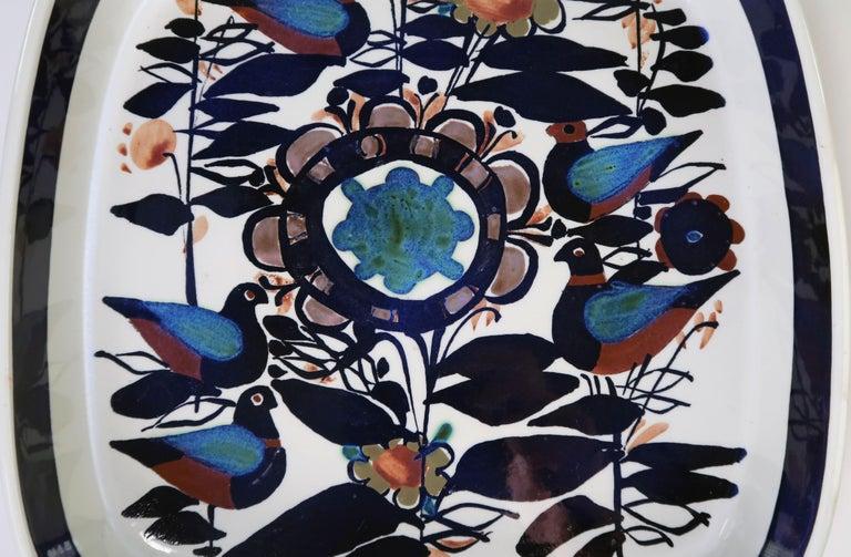 Mid-Century Modern Royal Copenhagen Danish Modern Birds and Flowers Multicolored Tenera Bowl, 1960s For Sale