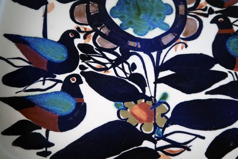 Glazed Royal Copenhagen Danish Modern Birds and Flowers Multicolored Tenera Bowl, 1960s For Sale