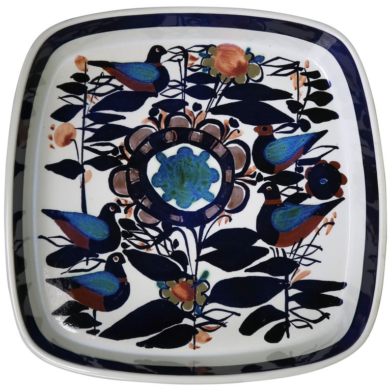 Royal Copenhagen Danish Modern Birds and Flowers Multicolored Tenera Bowl, 1960s For Sale