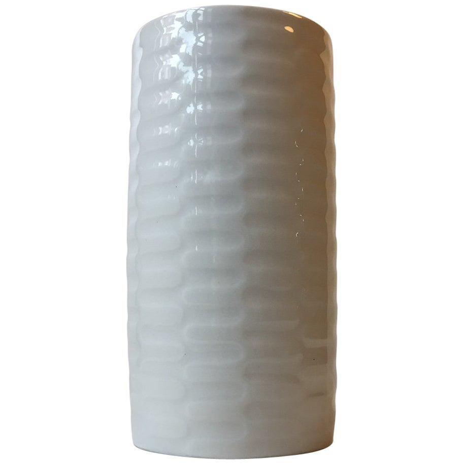 Royal Copenhagen Danish Modern White Celadon Vase by Anni Jeppesen, 1970s