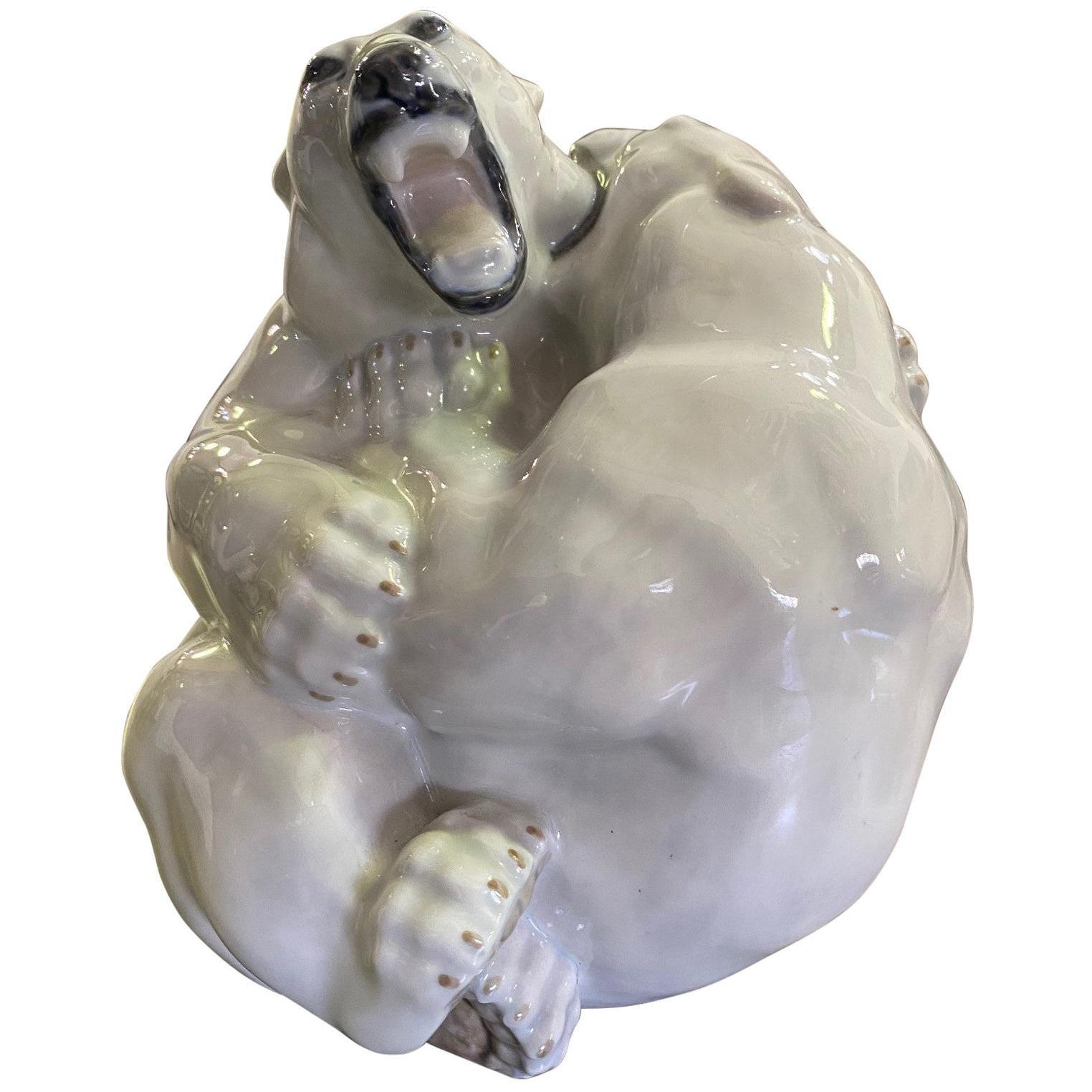 Royal Copenhagen Danish Stamped Signed Porcelain Fighting Polar Bears 2317
