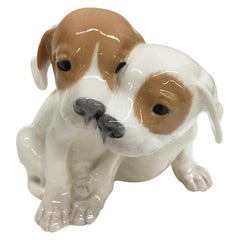 Royal Copenhagen Denmark, Porcelain Pointer Puppies Dog Figurine, 1889-1922