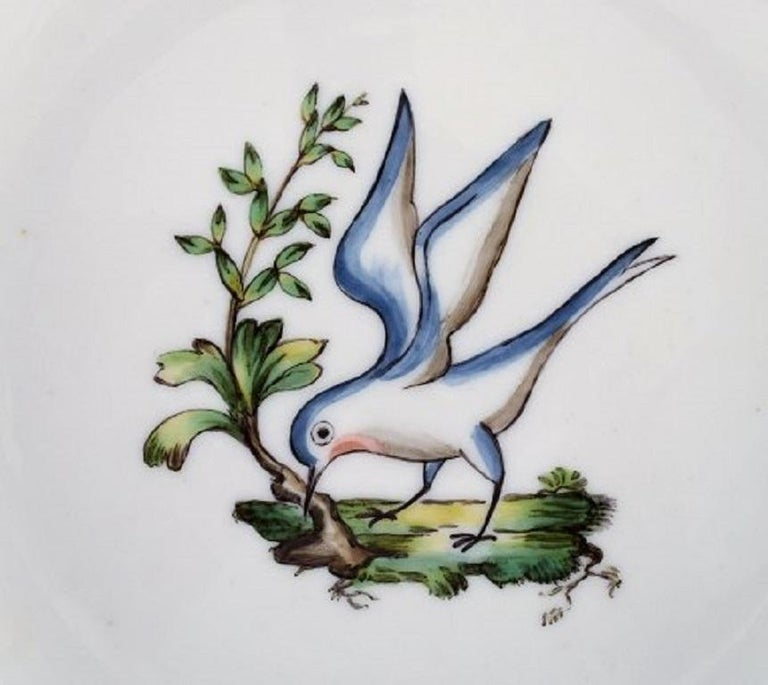 20th Century Royal Copenhagen Dinner Plate in Hand Painted Porcelain, 31 Pcs in Stock For Sale