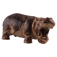 Royal Copenhagen Figurine of Hippopotamus Designed by Knud Kyhn, Made in Denmark
