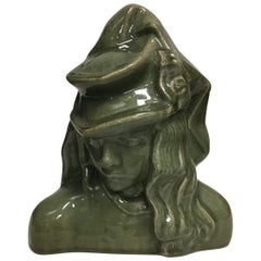 "Royal Copenhagen Figurine of Stoneware ""Girl with Hat"" with Green Glaze No 20874"