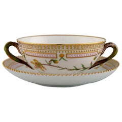 Royal Copenhagen Flora Danica Bouillon Cup with Saucer in Hand Painted Porcelain