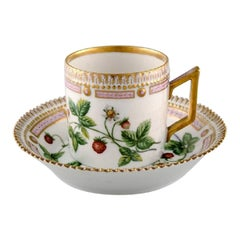 Royal Copenhagen Flora Danica Chocolate Cup with Saucer, Strawberry