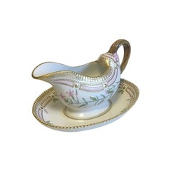 Royal Copenhagen Flora Danica Gravy Boat with Attached Underplate