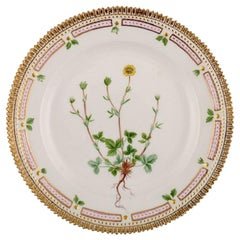 Royal Copenhagen Flora Danica Porcelain Lunch Plate with Hand-Painted Flowers
