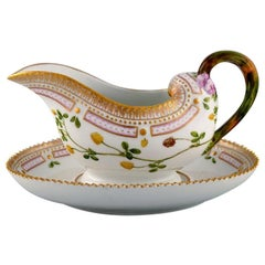 Royal Copenhagen Flora Danica Sauce Boat in Hand Painted Porcelain with Flowers