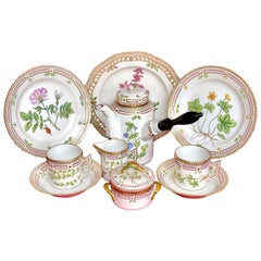 Royal Copenhagen Flora Danica Set of 40 Rare Pieces, Coffee, Chocolate, Cup, Pot