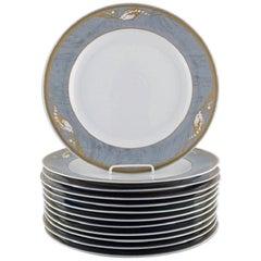 Royal Copenhagen Gray Magnolia, Large Porcelain Cover Plate, 12 Pieces